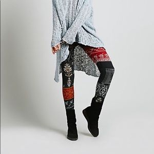 Free People Patchwork Leggings Sweater Knit AS IS